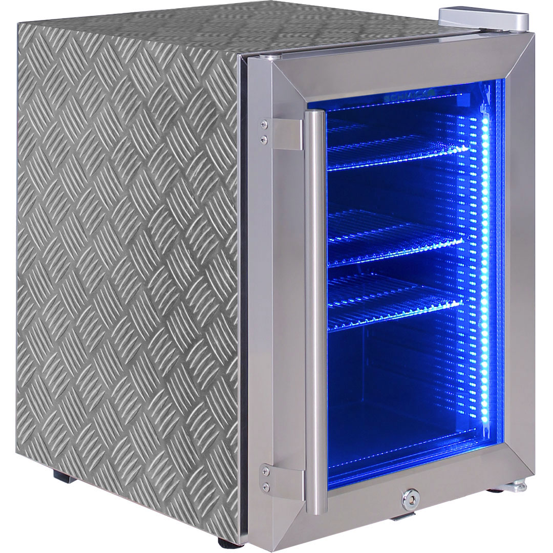 Stainless Steel Mini Glass Door Bar Fridge With Led Lighting And Lock