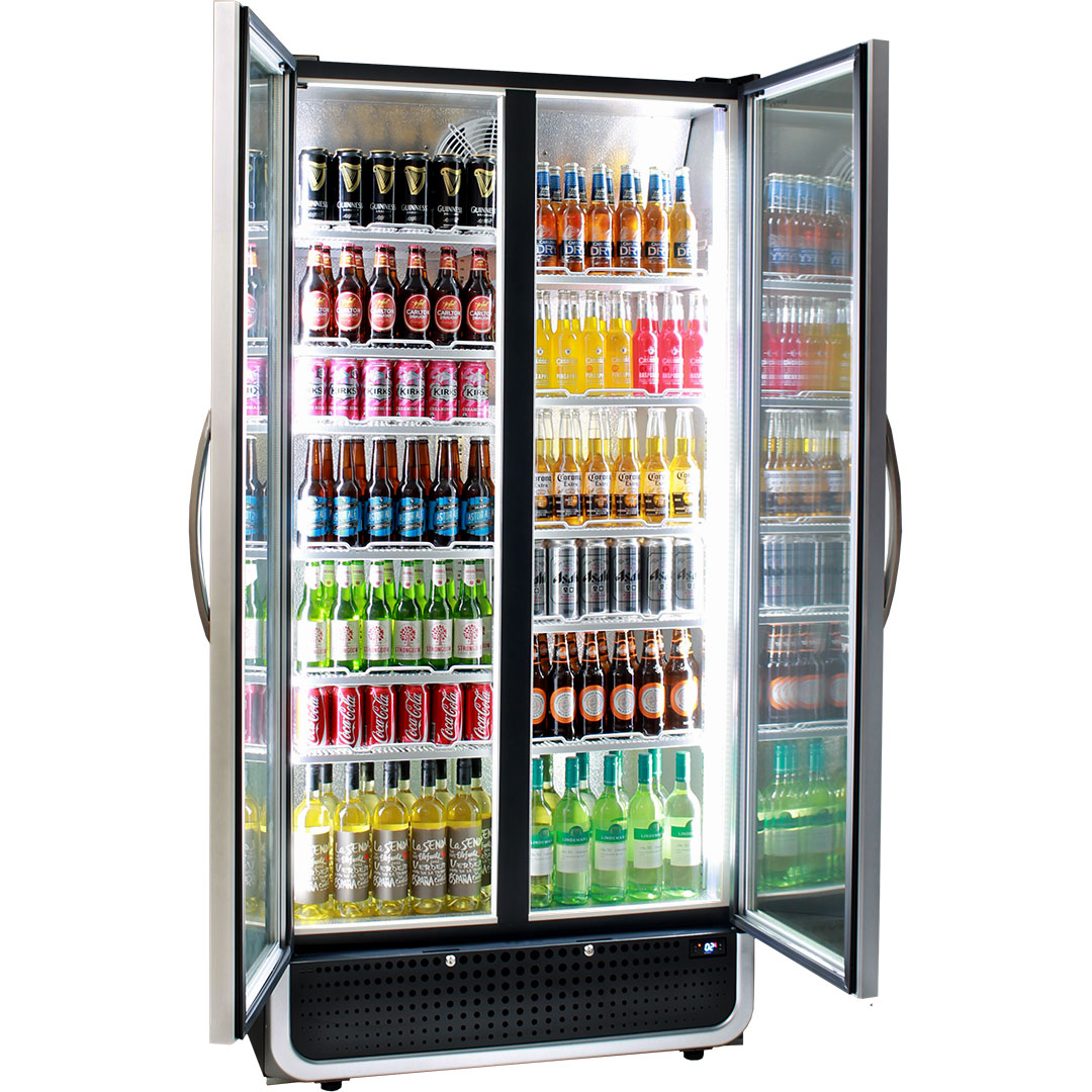 Husky 2 door upright black commercial energy saving pub bar fridge ask about adding shelves units come with 4 x shelves each side this shows planetlyrics Gallery