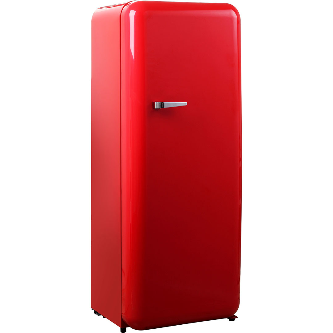 Schmick Tall Red Retro Refrigerator With Cool Vintage Style Look