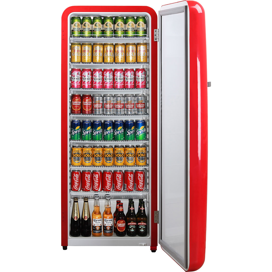 Cool Drink Fridge Red Retro Vintage Tall Bar Fridge Refrigerator Great For Extra Drinks