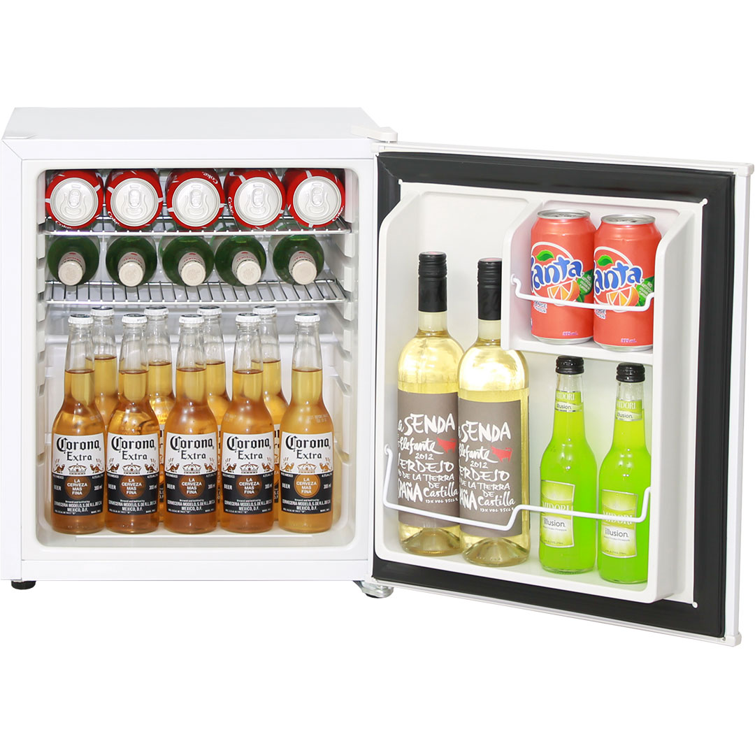 mini vintage retro bar fridge 46 litre all white with solid door. Black Bedroom Furniture Sets. Home Design Ideas