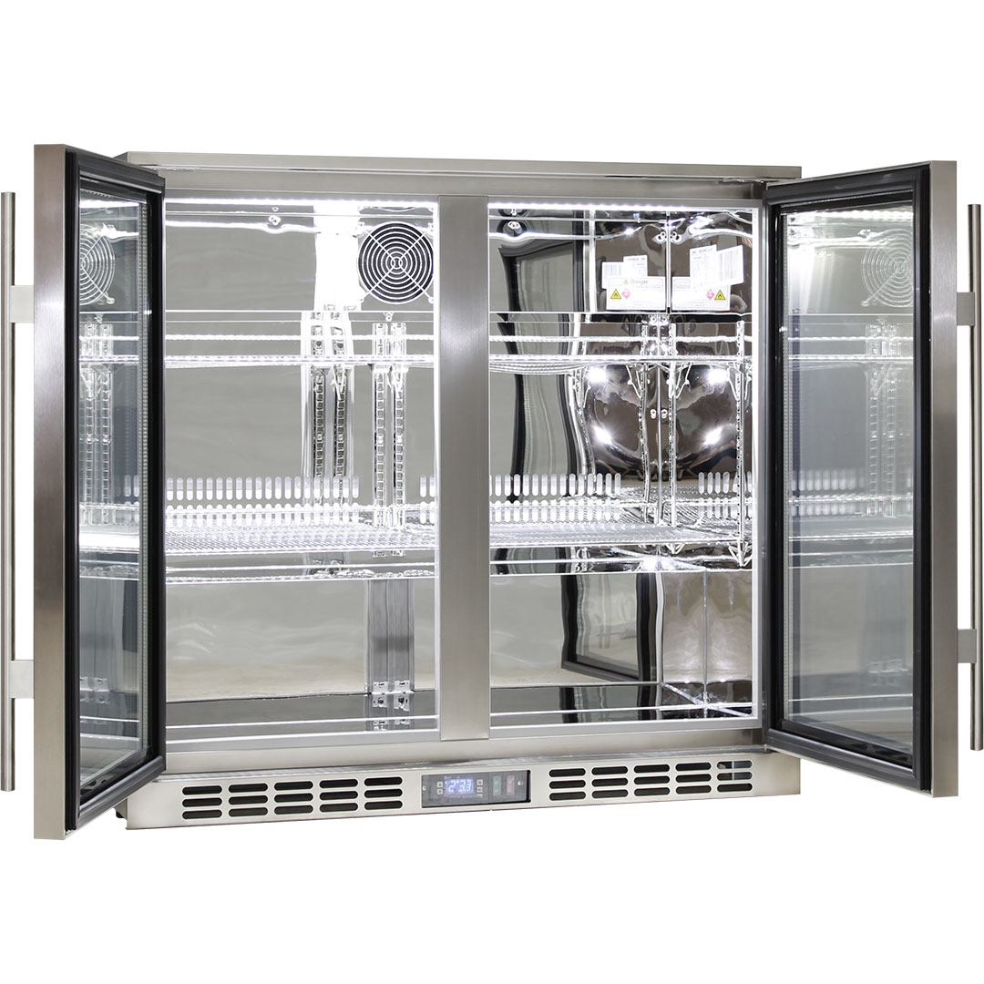 Rhino 2 Door Triple Glass Bar Fridge All 304 Stainless With Polished