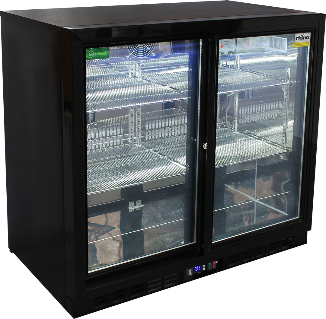 Rhino 2 Sliding Glass Door Bar Fridge Model SG2S-B angle