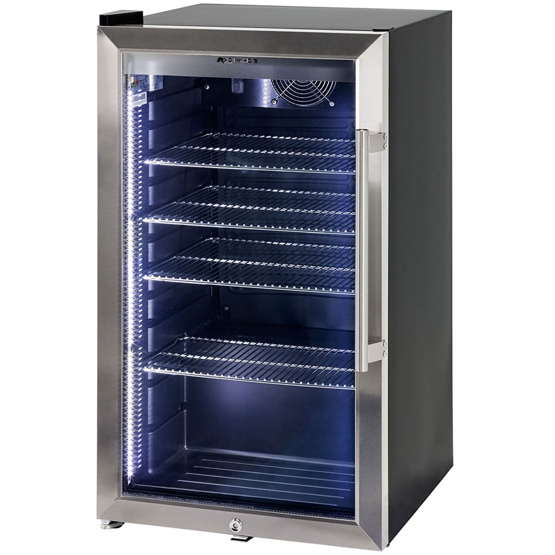 Alfresco triple glazed bar fridge with lock and blue led for Outdoor glass door