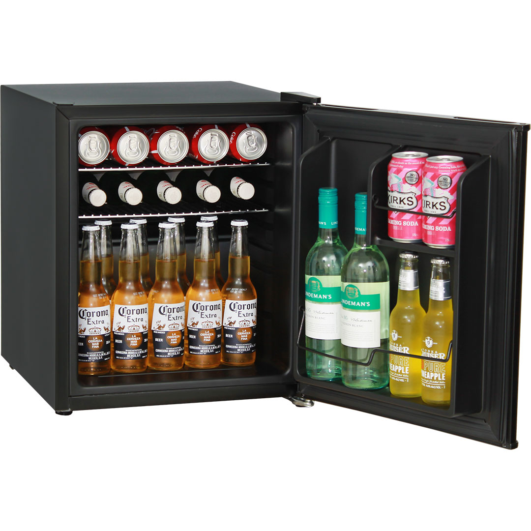 mini vintage retro bar fridge 46 litre all black with solid door. Black Bedroom Furniture Sets. Home Design Ideas