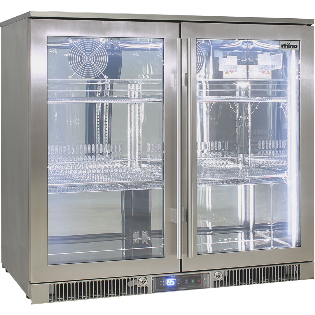 Rhino Envy 2 Door Bar Fridge - Marine Grade 316 Stainless Steel Means No Rust, Great For Sea Area's And Boats