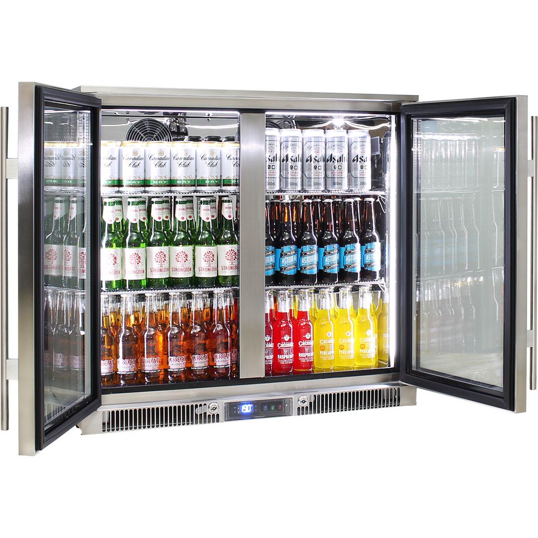 Rhino Envy 2 Door Bar Fridge - German Quality Fans, German Danfoss Controller, Energy Efficient, 316 S/S, Quiet, Excellent In 40oC