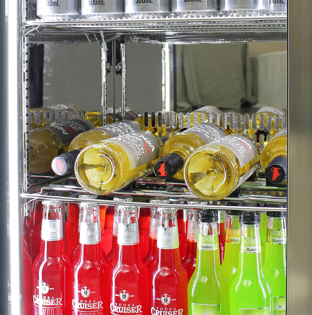 Rhino Envy 2 Door Bar Fridge - The Unique Design Means You Can Fit Any Width Sized Bottle