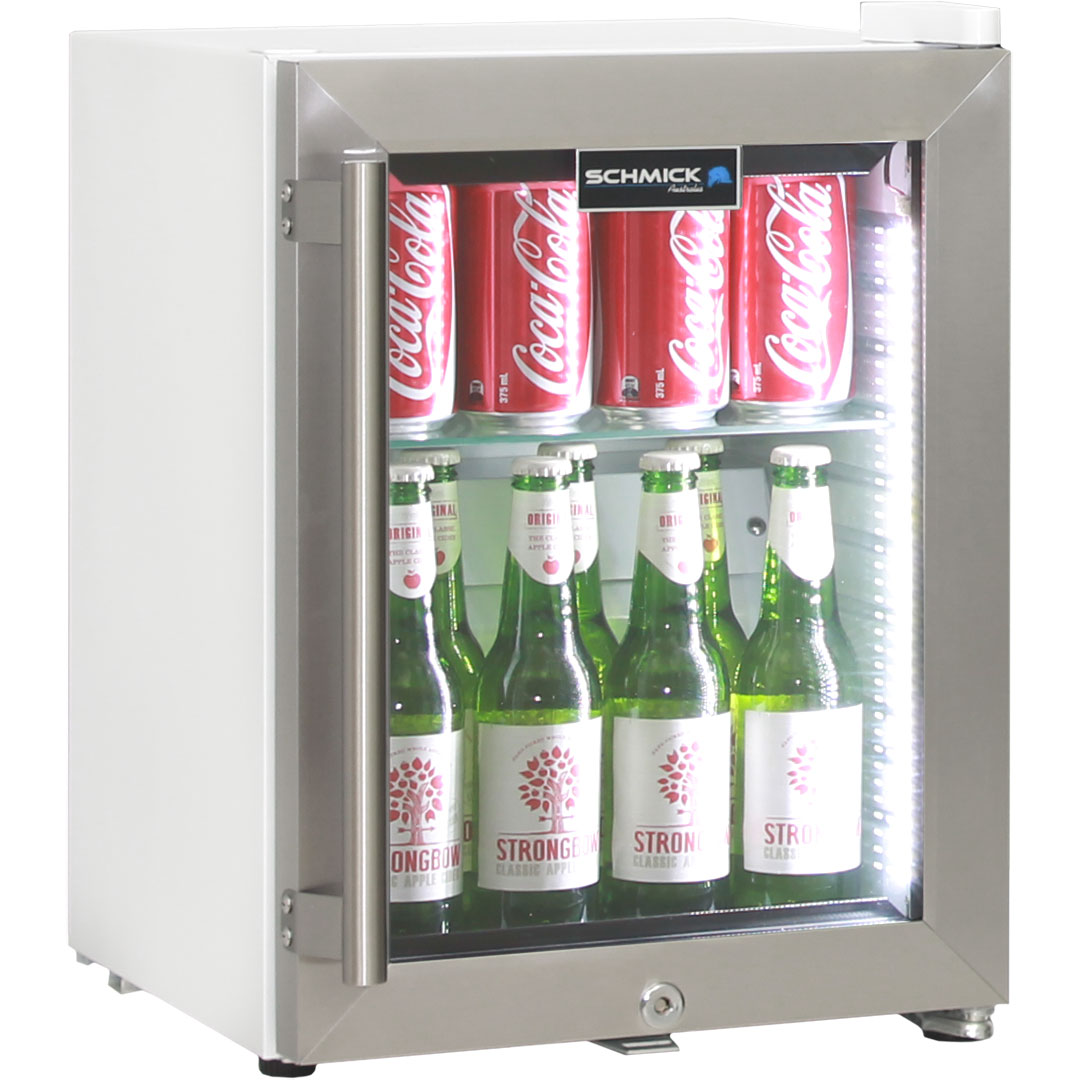 Cosmetics / Drinks White Mini Glass Door Fridge With Stainless Steel Door 23Litre Schmick Brand