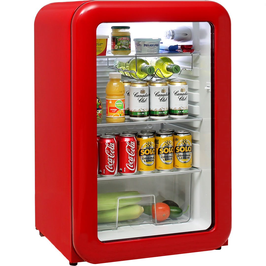 Red Funky Schmick Retro Glass Door Bar Fridge 110 Litre