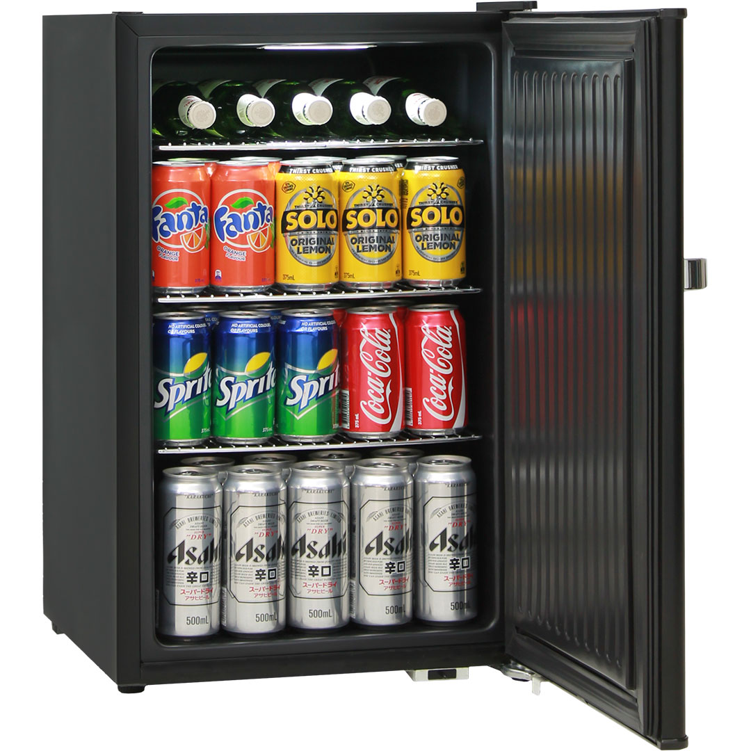 Mini Bar Fridge Retro 70 Litre All Black With Solid Door