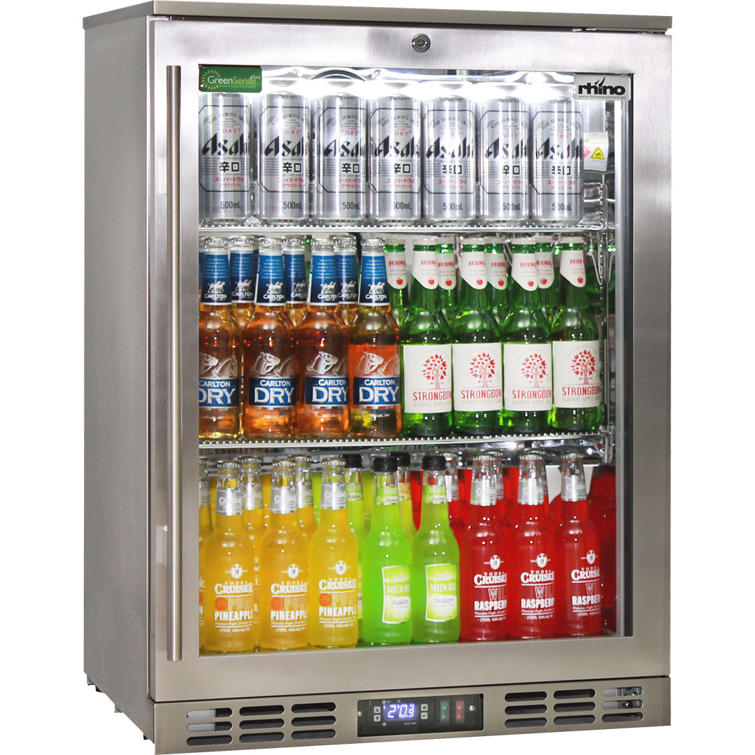 Quiet Rhino Stainless Steel 1 Door Triple Glazed Glass Bar Fridge Right And Left Hinged Available