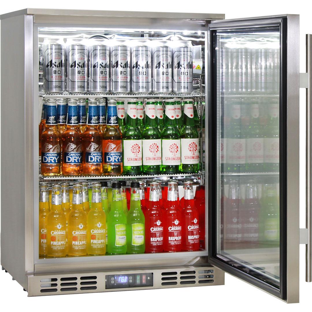 Rhino triple glass 1 door quiet stainless steel bar fridge made rhino quiet 1 door triple glass door bar fridge model plenty of room adjustable eventelaan Gallery