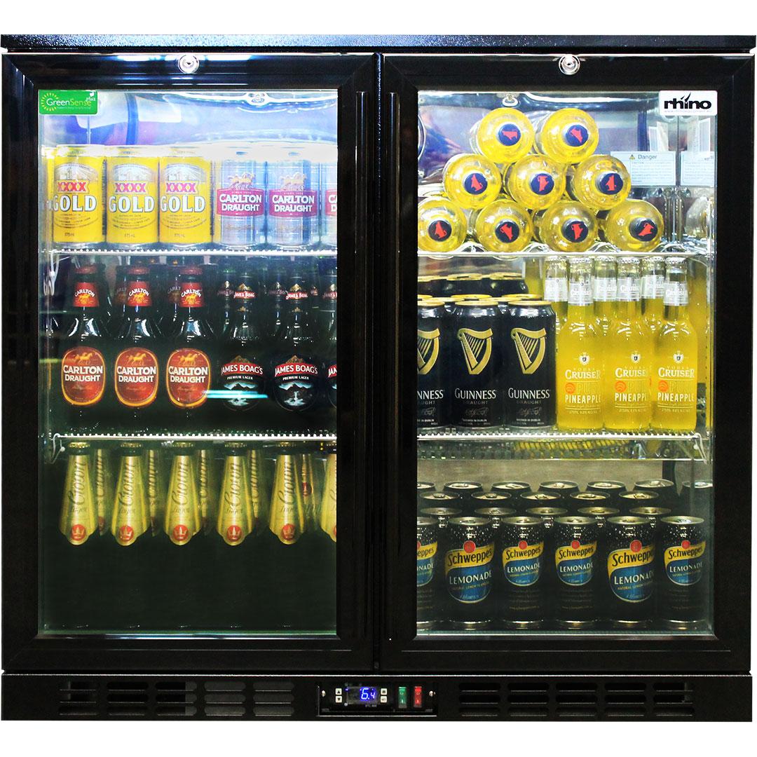Rhino Double Door Commercial Black Under Bench Glass Door Bar Fridge Model SG2H-B Wine Shelf Option