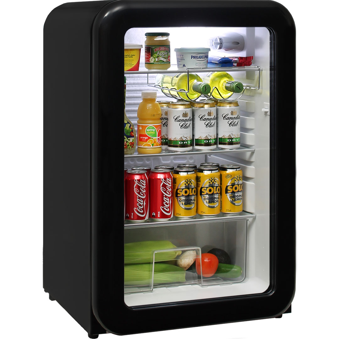 Black Funky Schmick Retro Glass Door Bar Fridge 110 Litre
