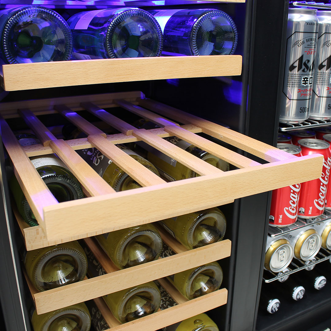 Dual Zone Under Bench Beer And Wine Fridge - Shelves Slide Out For Easy Access