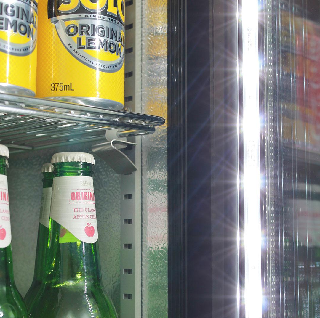 Skinny Tall Bar Fridge - Led Lighting, Adjustable Shelves