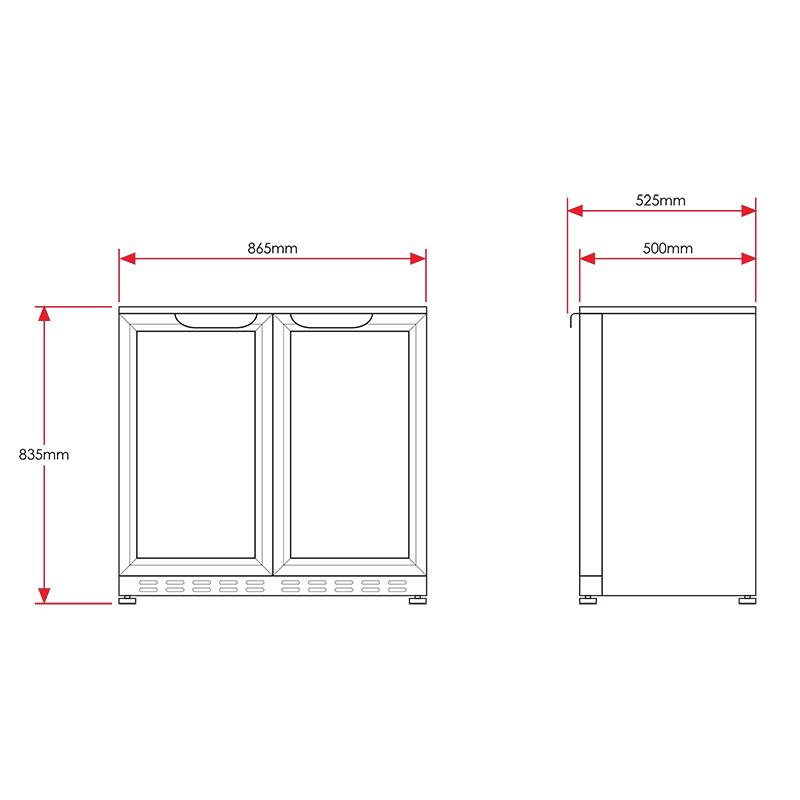 Husky Commercial 2 Door Glass Door Fridge Model Hus C2 840 Hy
