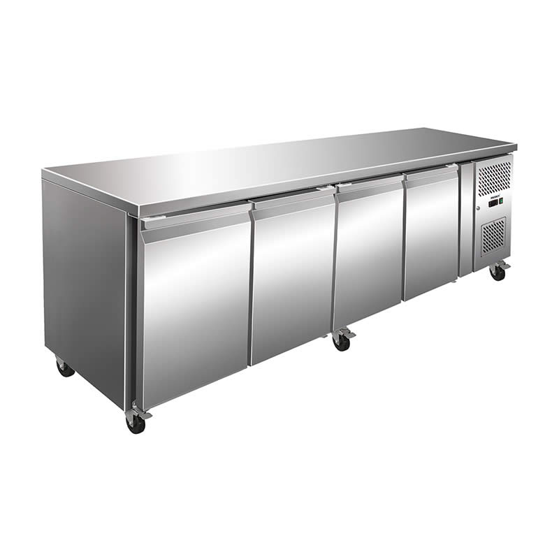 Husky 3 Door Preparation Counter Stainless Steel Food Service Refrigerator 464 Litre