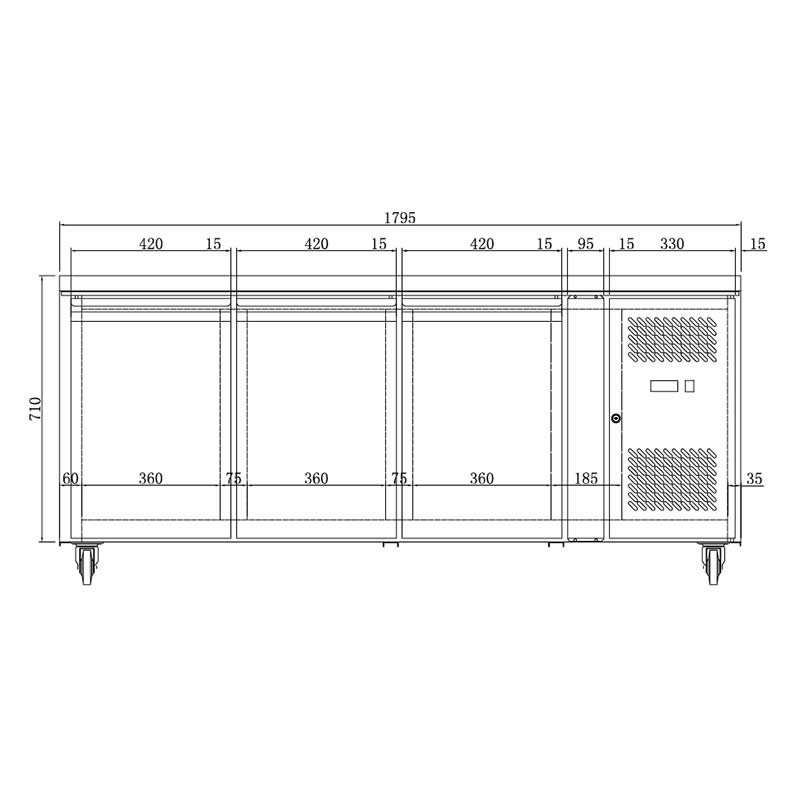 Preparation Food Service Bar Fridge Has Strong Shelving And Self closing Doors  sc 1 st  Bar Fridges Australia & Husky 3 Door Preparation Counter Stainless Steel Food Service ...
