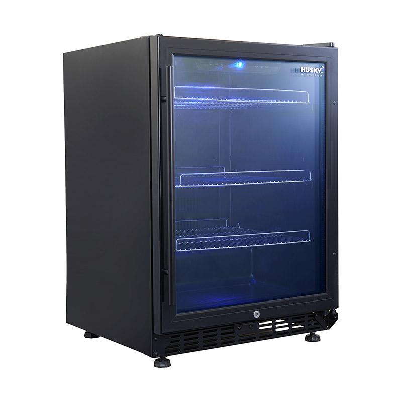 Husky Vino Pro Under Bench Beer Refrigerator 46 Bottle Black Trim Door Triple Glazed With Lock