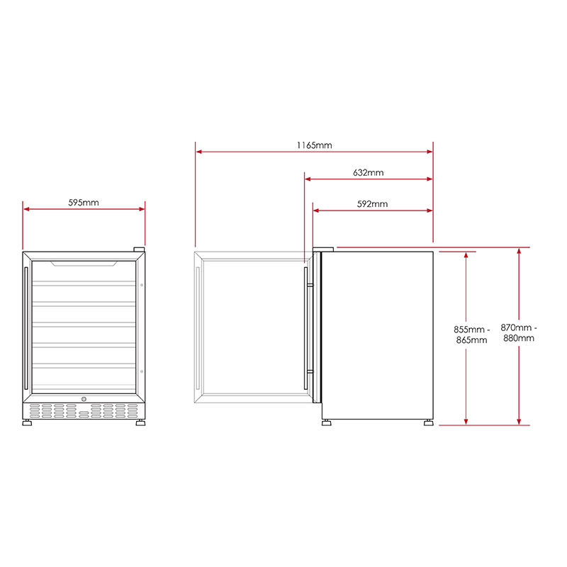 Full dimension diagrams, allow 20mm each side and 50mm at rear