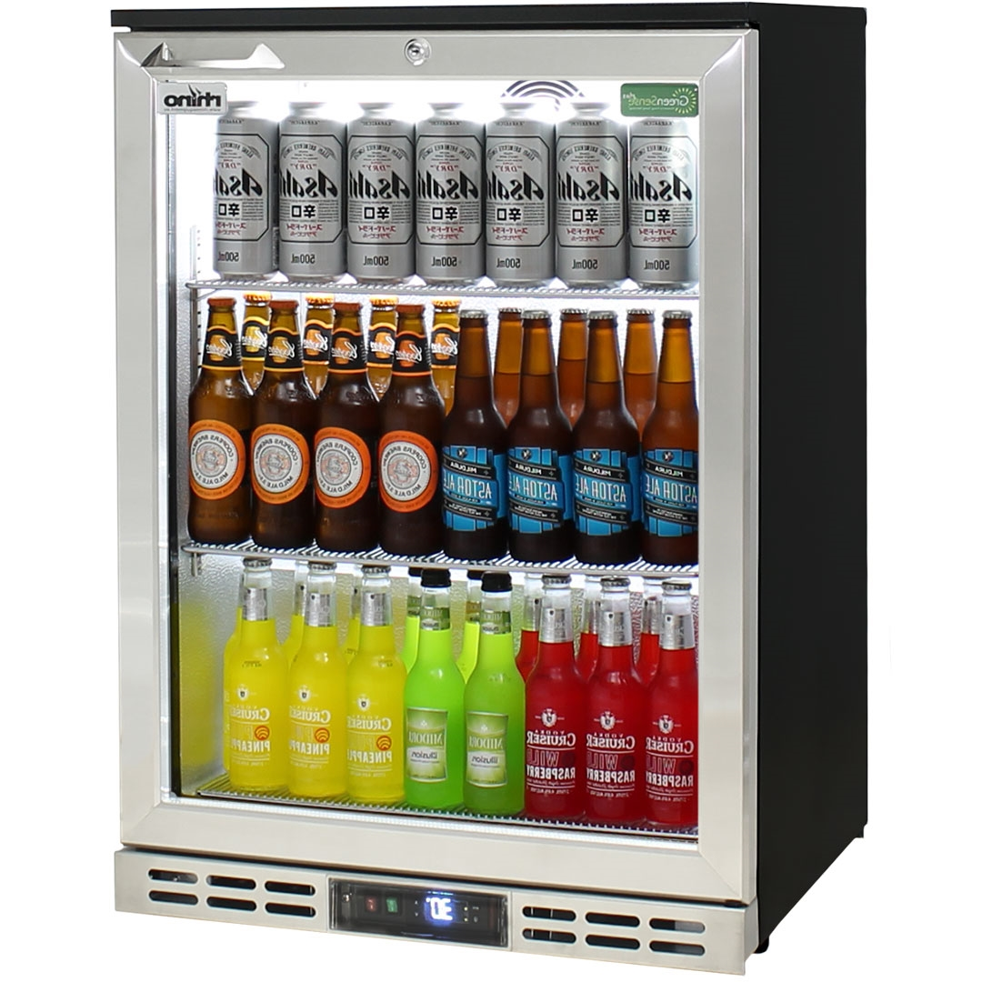 Heated Glass 1 Door Commercial Stainless Steel Bar Fridge With Below
