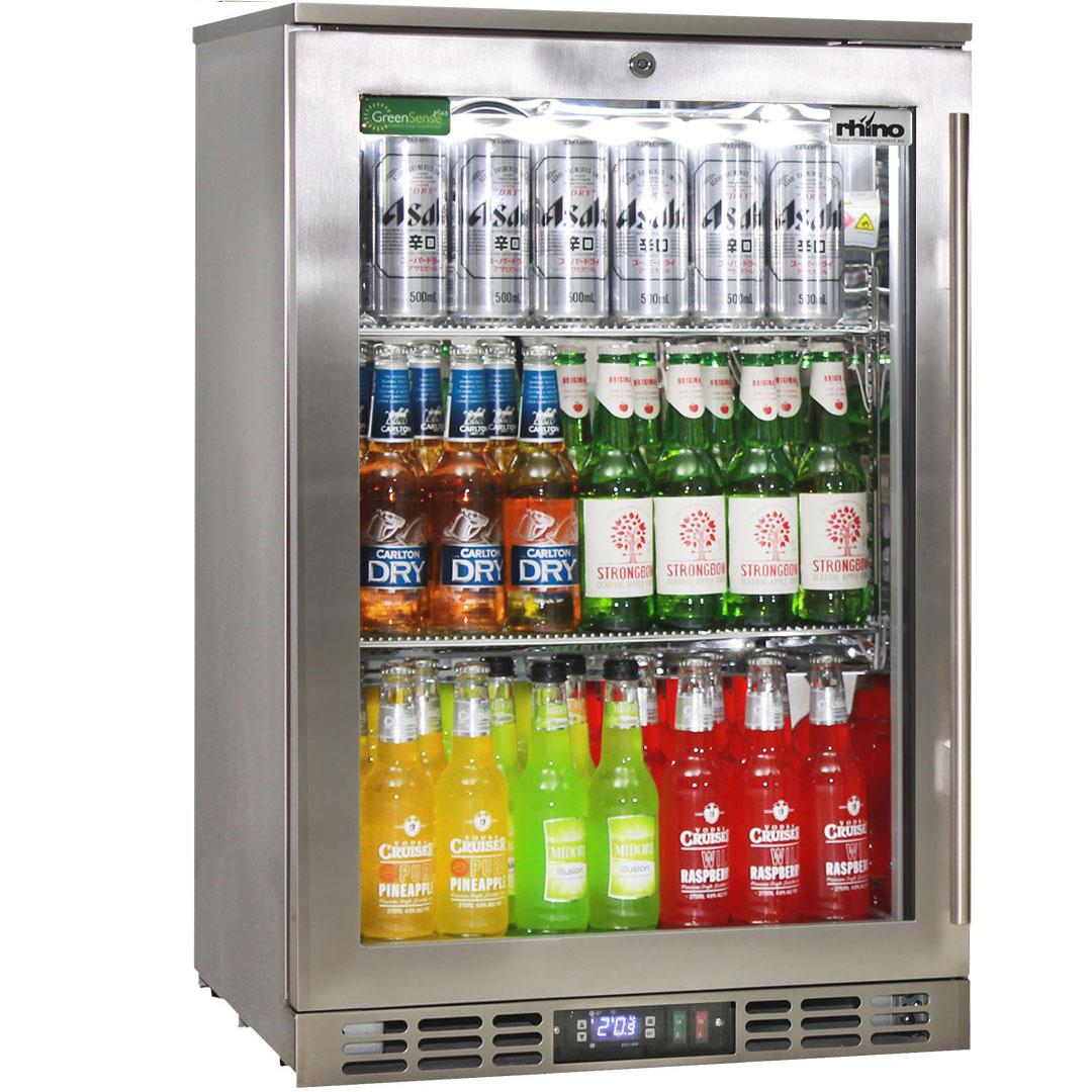 Rhino 1 Door Heated Glass Door Bar Fridge - Brand Parts Ensures Longevity, Great Warranty