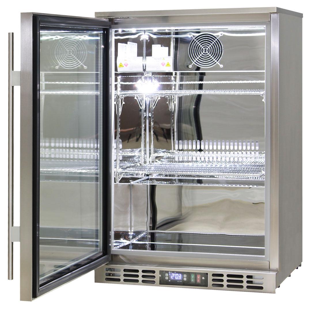 Rhino 1 Door Heated Glass Door Bar Fridge - All 304 Stainless Steel, Polished Stainless Interior