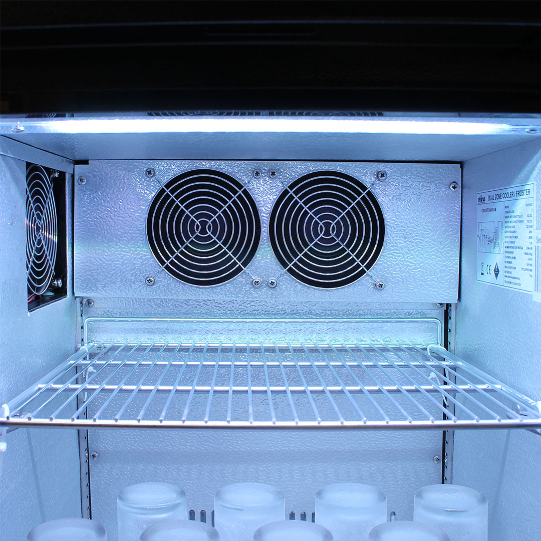 Rhino 2 Door Twin Zone Below Zero Fridge And Glass Froster - Twin Fan For Quick Cold Chilling