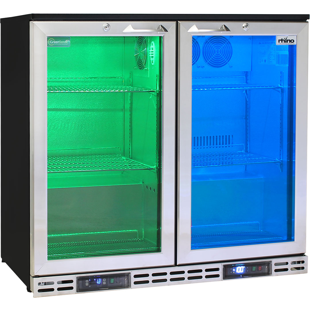 Rhino 2 Door Twin Zone Below Zero Fridge And Glass Froster - Perfcet Pub Nightclub Under Zero Fridge