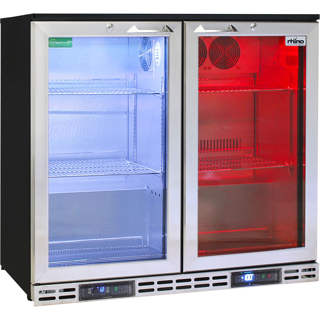 Rhino 2 Door Twin Zone Below Zero Fridge And Glass Froster - Led Lighting Is Multi Colored And Remote Control Allows Pattern Sequences