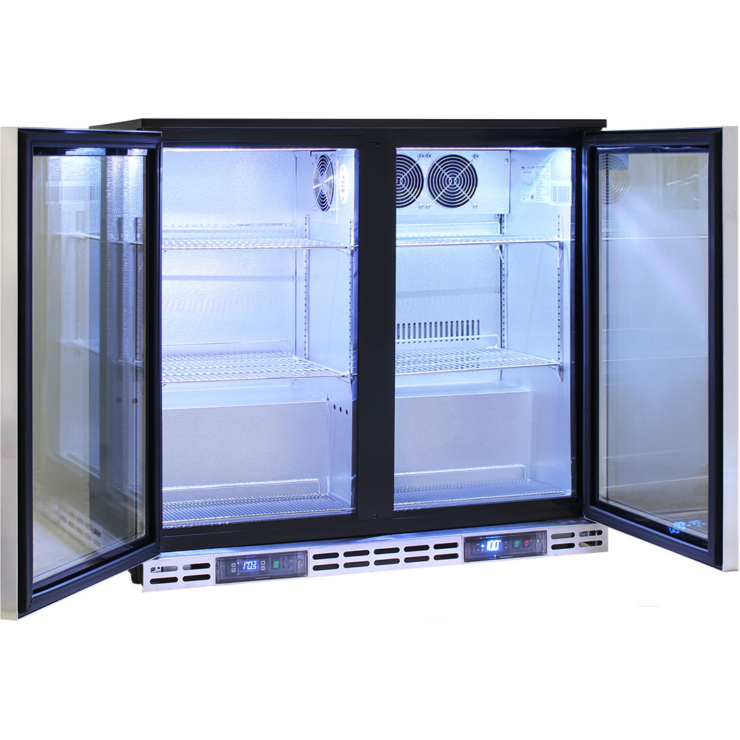 Rhino 2 Door Twin Zone Below Zero Fridge And Glass Froster - Fast Chill Down Times