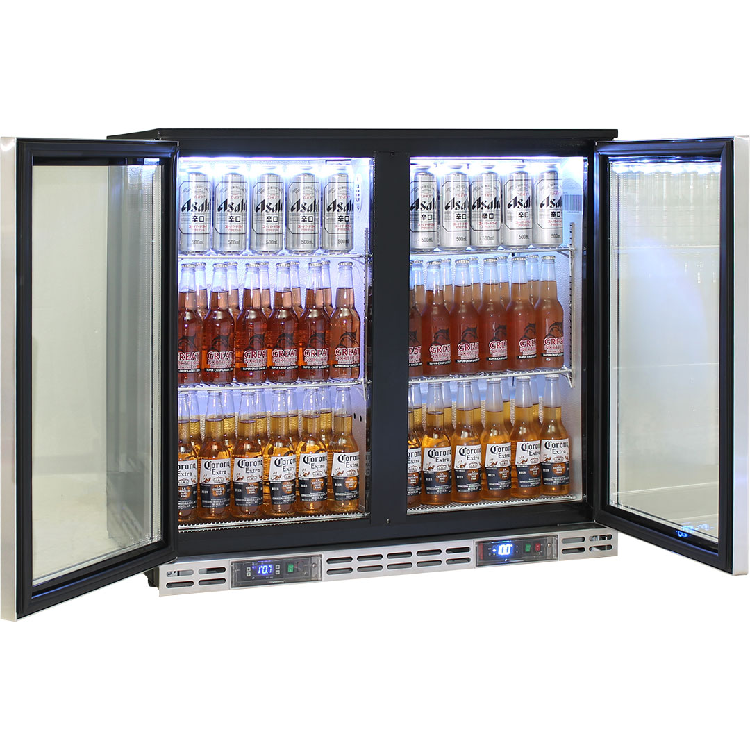 Rhino 2 Door Twin Zone Below Zero Fridge And Glass Froster - Use Both Sides For Coldest Drinks Available