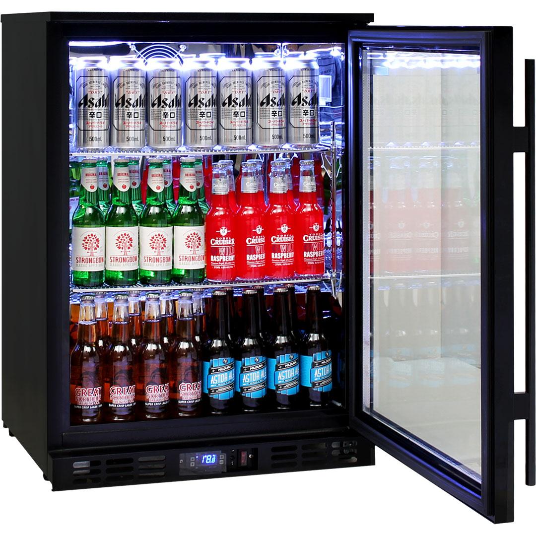 Rhino Nightclub Pub Bar Fridge With Multi LED Light Options - Self Closing Lockable Doors With Triple Glazed LOW E Glass To Prevent Condensation