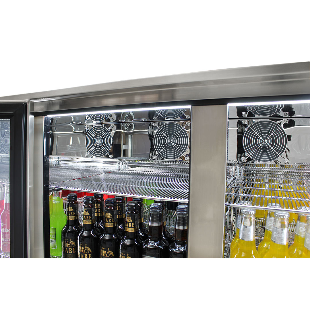 Rhino Envy 3 Door Bar Fridge - Strong Chromed Shelves, 316 S/Steel Is Marine Grade, Great For Coastal Area's