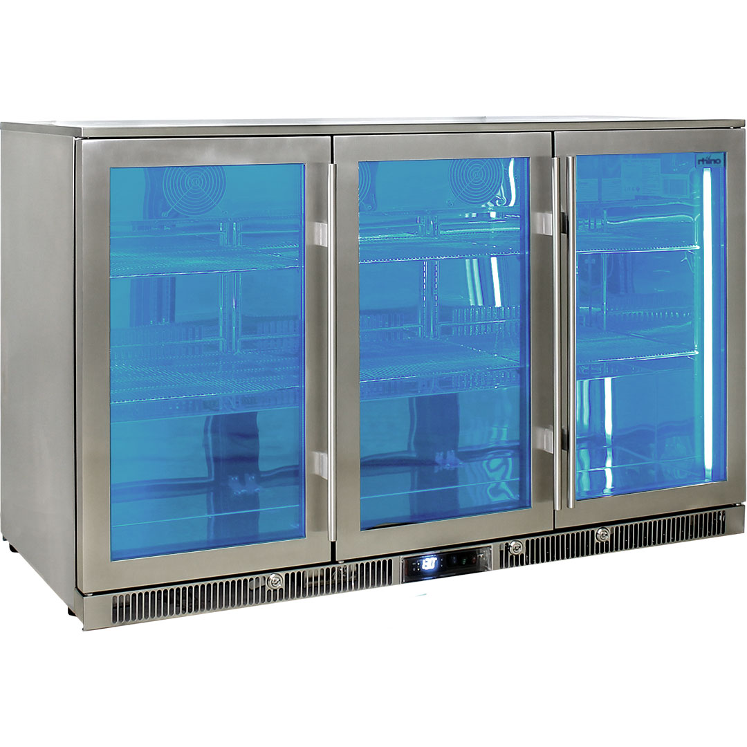 Rhino Envy 3 Door Bar Fridge - Switchable Led Light That Can Be Switched Between Blue Or White, Embedded In Side Walls And Roof (3 x Led)