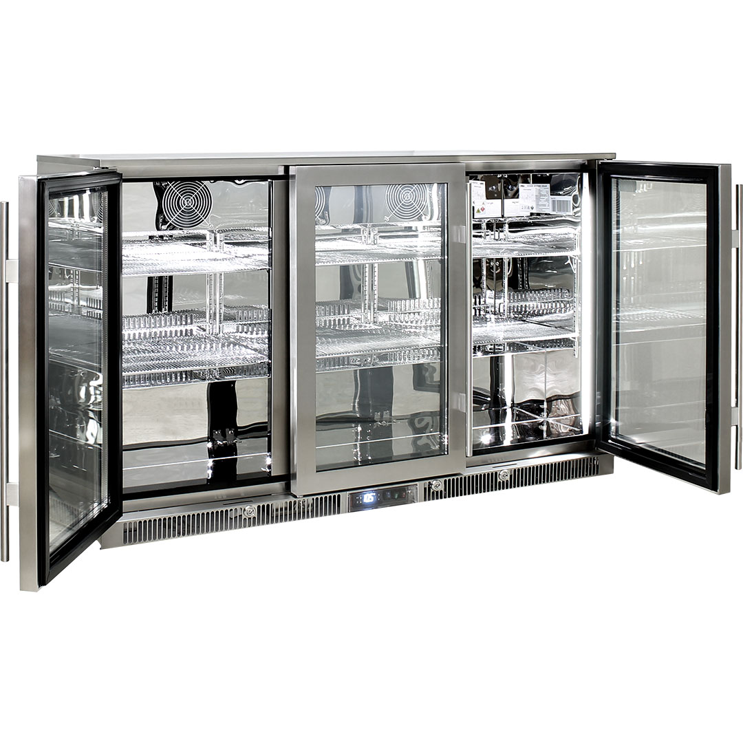 Rhino Envy 3 Door Bar Fridge - 316 S/Steel Marine Grade Exterior And Mirror Finish Stainless Interior And Self Closing Doors