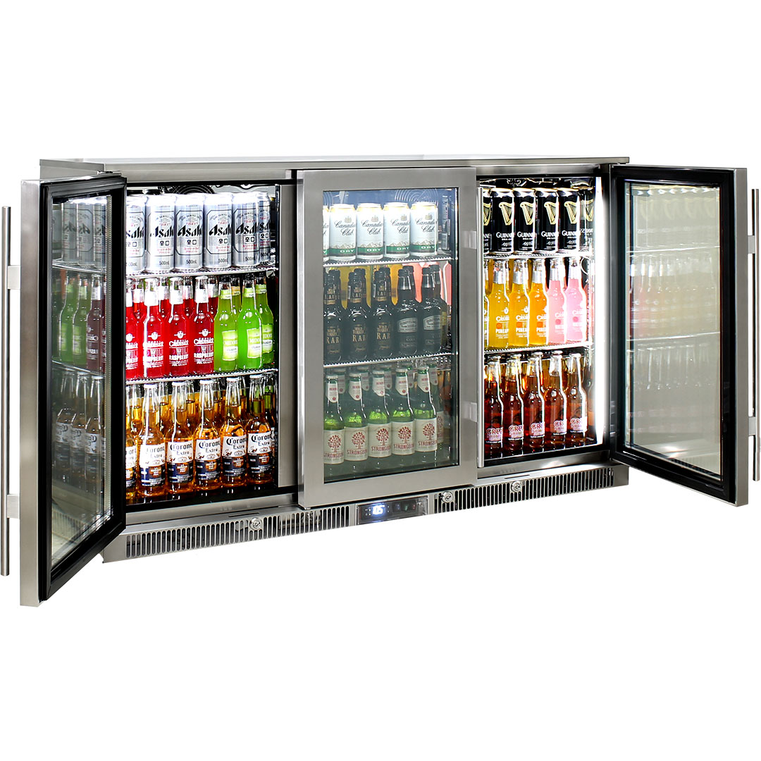 Rhino Envy 3 Door Bar Fridge - Storage Options Are Plenty With Very Small Shelf Clip Height Adjustments Meaning You Can Fit Any Size Bottles Without Wasting Space