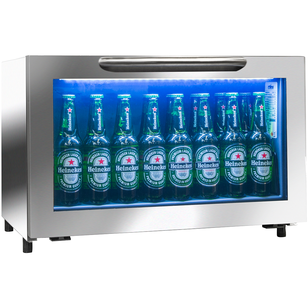 Rhino Commercial Low Bar Fridge - Self Closing Door Opens Downwards And Automatically Closes