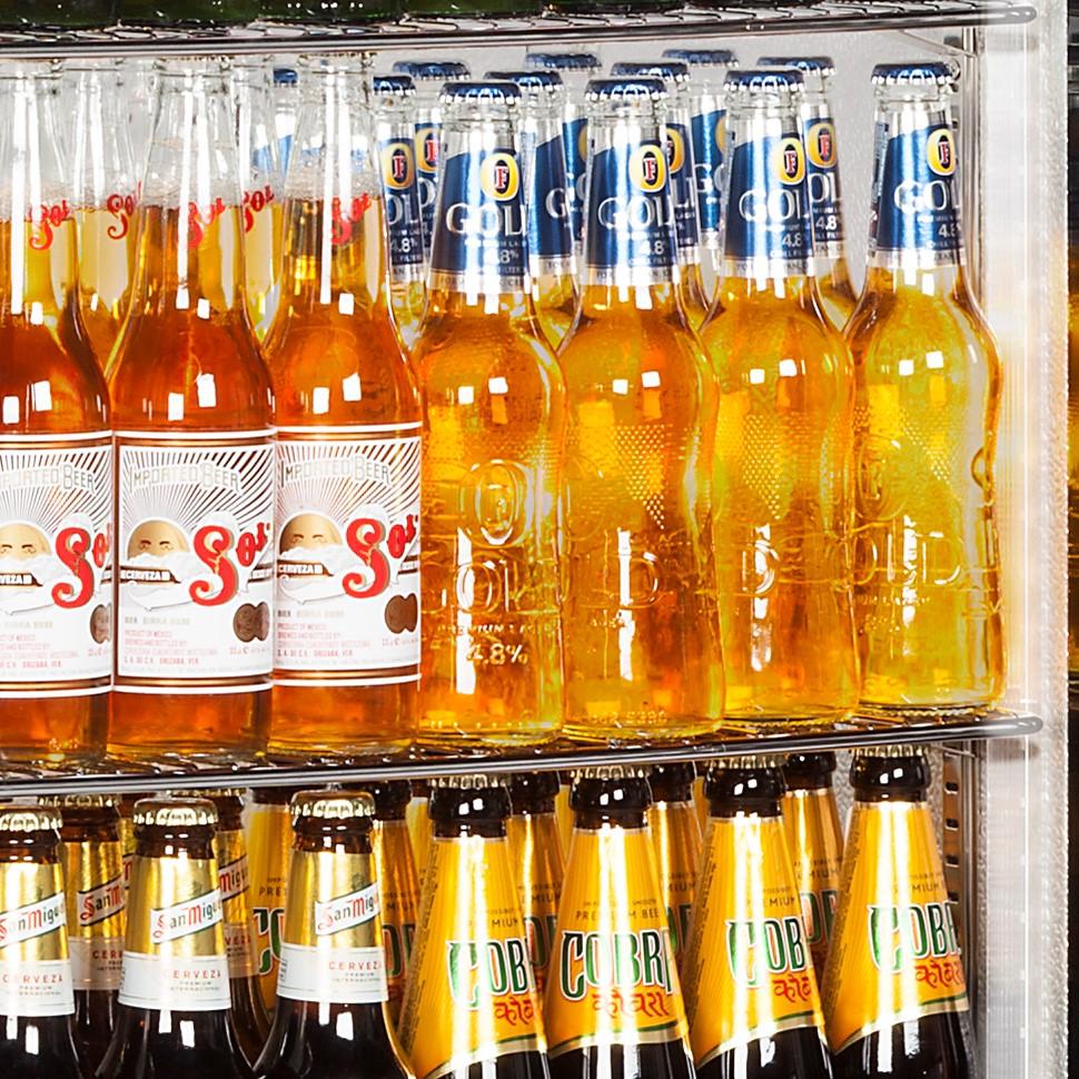 Rhino Commercial Upright 1 Door Pub Beer Bar Fridge - Led Lighting All Stainless Design