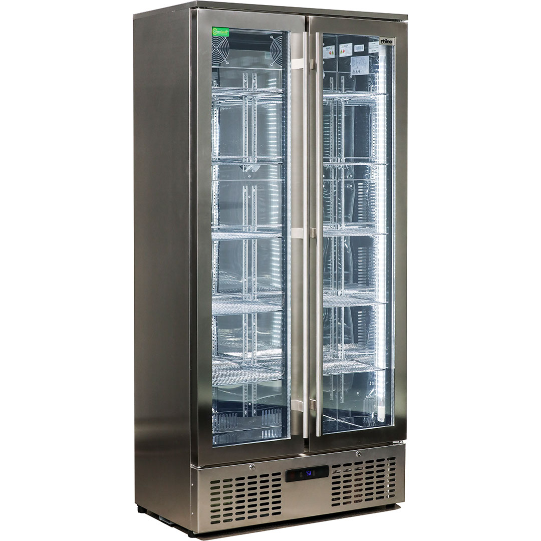 Rhino Stainless Steel Glass 2 Door Commercial Bar Fridge With Low E