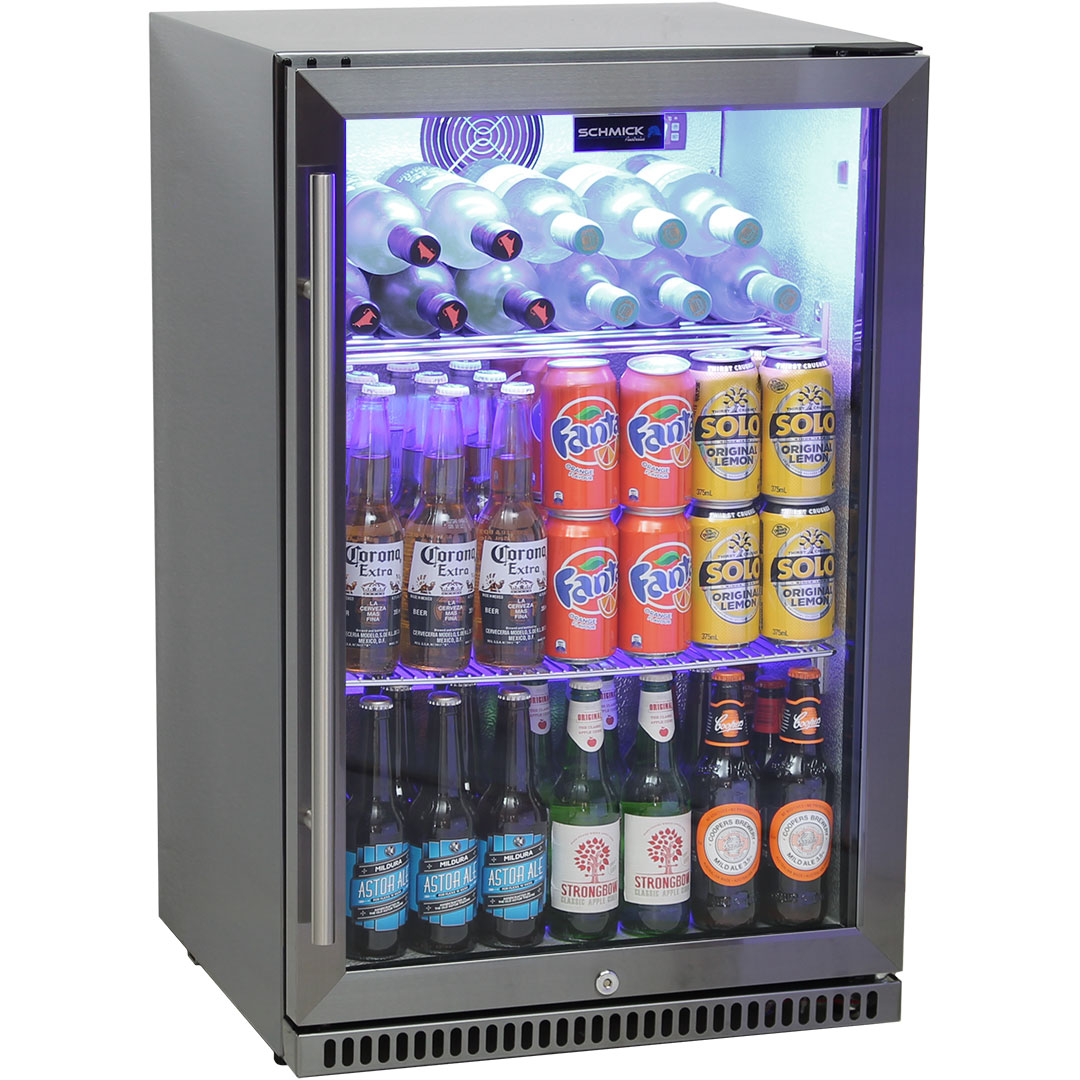 Schmick Black Stainless Steel Outdoor Refrigerator - Wine Shelf Option See To Right Of Pics