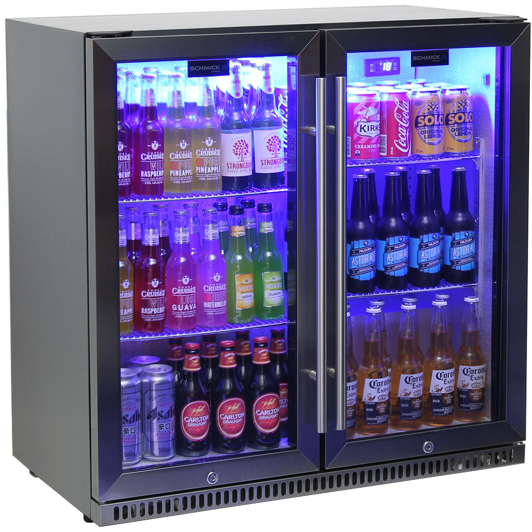 Schmick Black Stainless Steel 2 Door Quiet Bar Fridge With