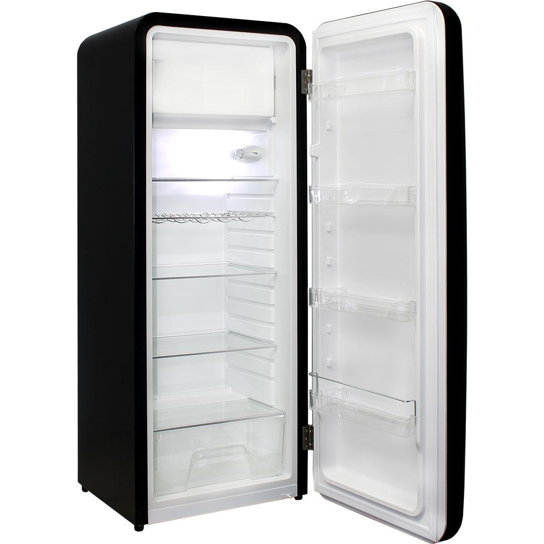 Retro Black Bar Fridge With Mini Freezer, Crisper, Glass Shelves, Wine Shelf And 4 x Inner Door Shelves