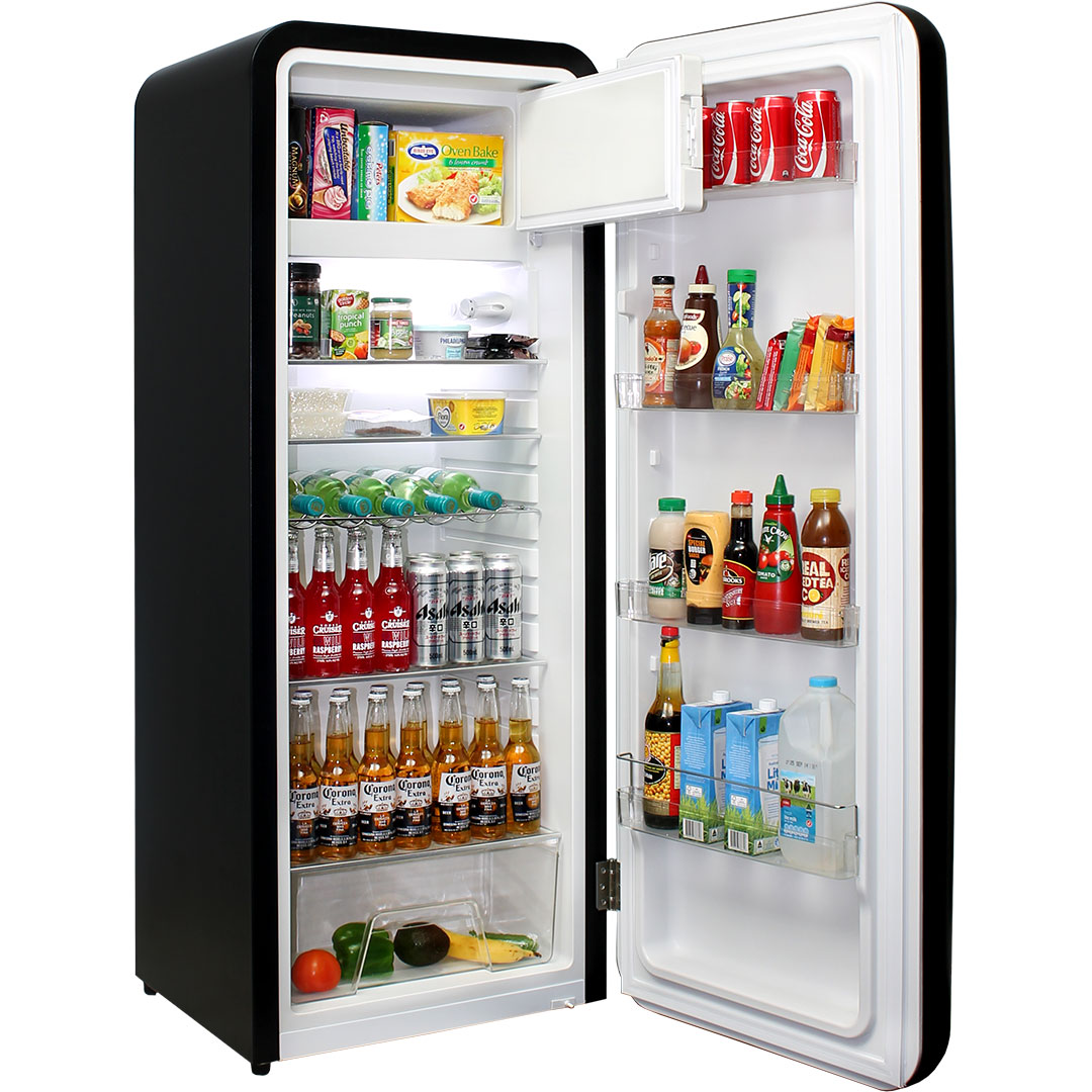 Retro Black Bar Fridge - Proper Freezer, Not A Ice Cube Storage Type