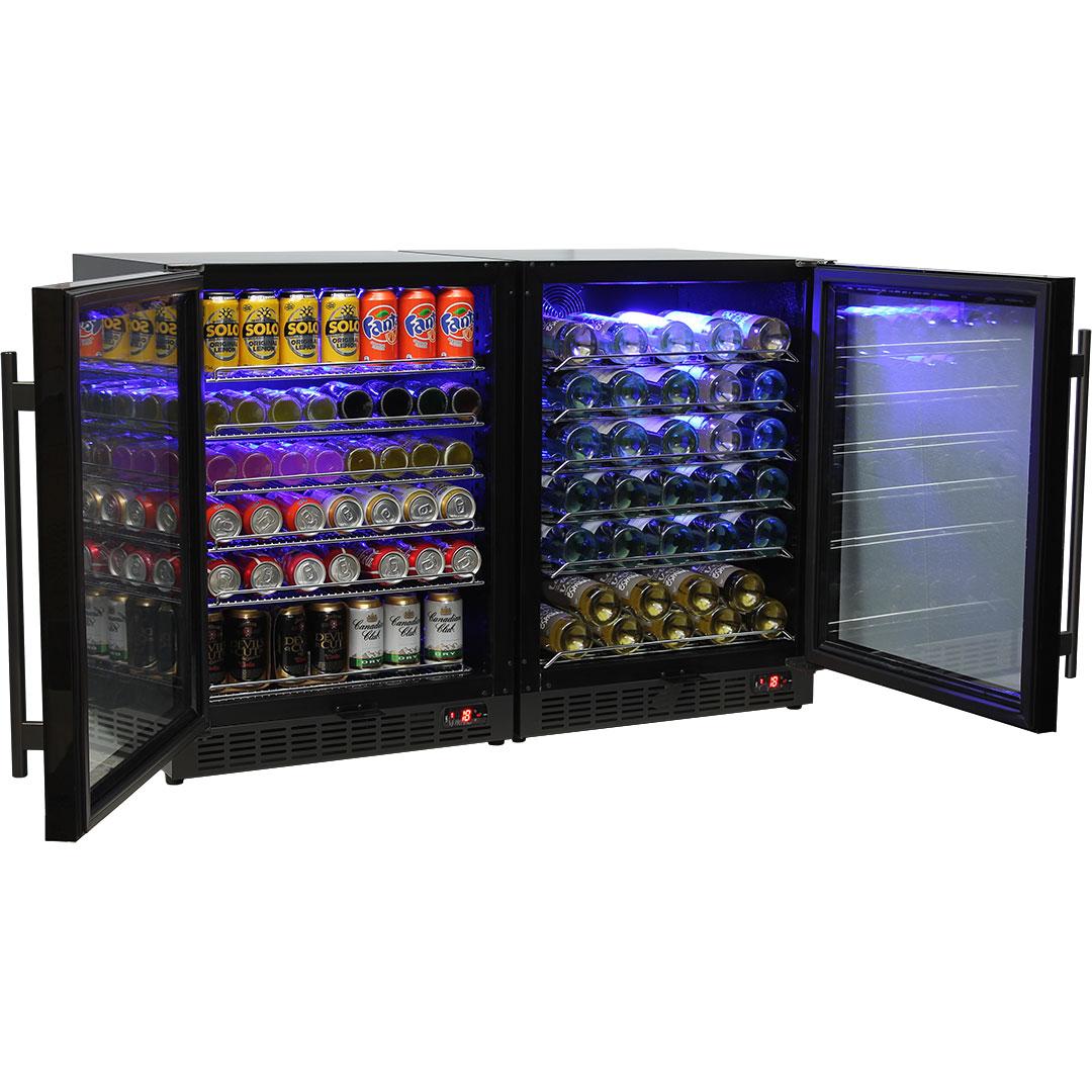 Schmick Beer And Wine Matching Indoor Quiet Running Fridge Combination Model SK151G-Combo-Open