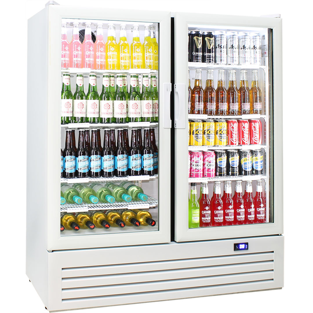 Schmick Upright 2 Door Commercial Glass Front Short Profile Bar Fridge