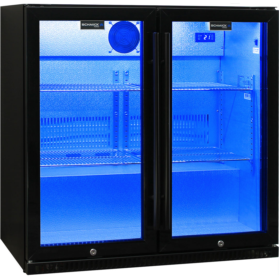 Schmick Outdoor Heated Glass Bar Fridge WIth Blue Led