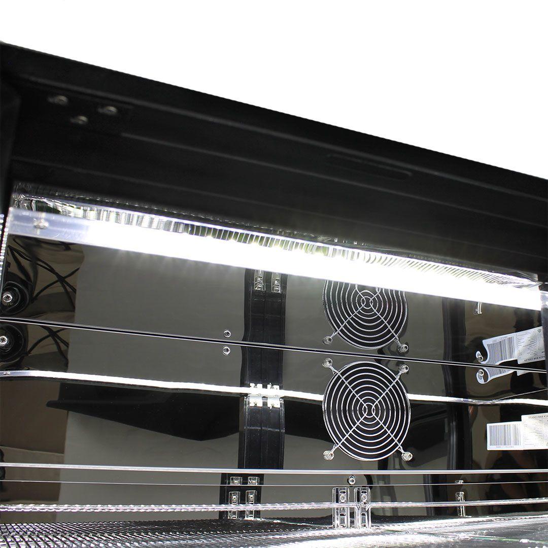 Commercial Under Bench Black Glass Double Door Bar Fridge Energy Efficient